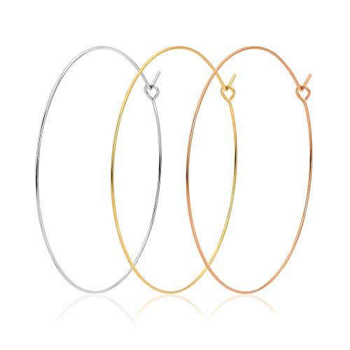 3 Paris 60mm Stainless Steel Hoop Earrings Set Big Thin Wire Hoop Earrings in 18K Gold Silver Rose Gold Tone Large Drop Hoop Earrings for Sensitive Ears