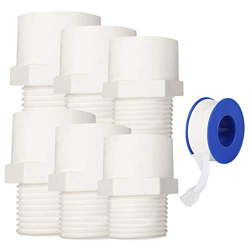 YOFASEN Conectores de tubería de agua, 3 tamaños - 6 piezas Conector adaptador de accesorios de tubería de rosca macho de PVC + 1 pieza Cinta de sellado de tubería de agua