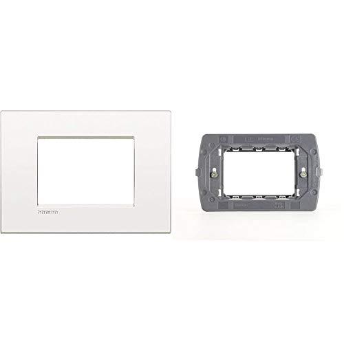 Bticino Lnc4803Bn Livinglight Air Placca 3 Moduli, Bianco & Supporto Ticino Tre Moduli Per Placche Air Ln4703C
