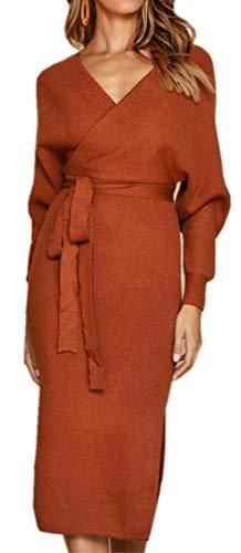 Socluer Strickkleider Damen Vintage Kleider Etuikleid Pulloverkleider Partykleider Abendkleid V-Ausschnitt Elegant Minikleid mit Gürtel (L (DE 38-40), Z-Khaki)