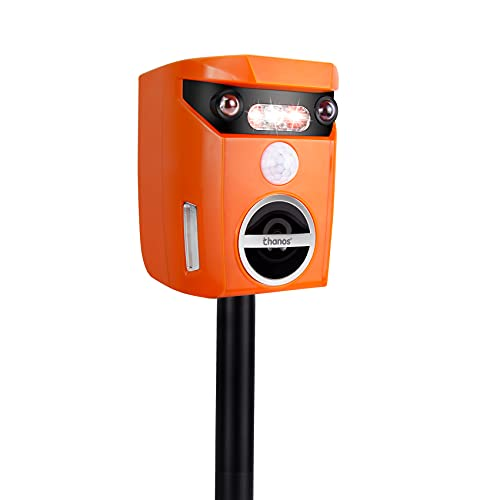 Thanos Solar Animal Repellent Ultrasonic Cat Repeller Motion Activated LED Flashing Light Keep Away Dog Fox Raccoon Deer from Your Garden (Orange)