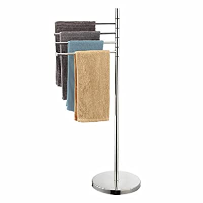 Naturous 4 Swivel Arm Towel Rack Holder, Freestanding Hand Towel Bar Stand with Round Base, Stainless Steel Bathroom Towel/Kitchen Towel Rack Stand