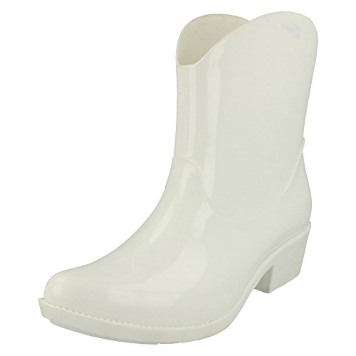 Spot On Ladies Cowgirl Ankle Wellington Boots - White Synthetic - UK Size 4 - EU Size 37 - US Size 6