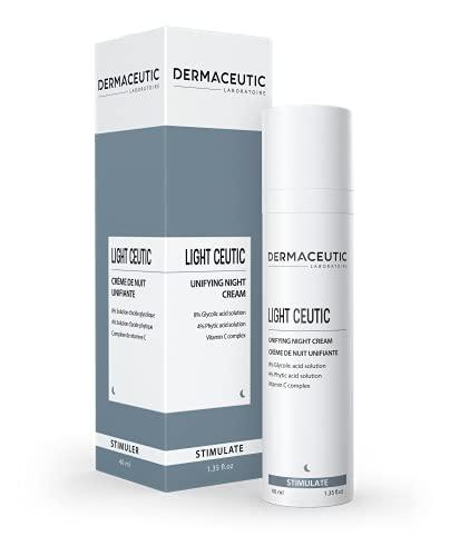 Light Ceutic de Dermaceutic - Crème de nuit unifiante contenant de l'Acide Glycolique en solution, de l'Acide Phytique en solution et un Complexe de Vitamine C - 40ml