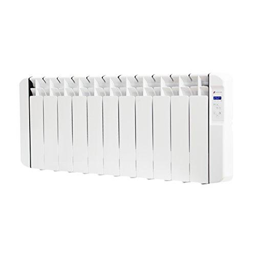 Haverland RC11BL - Radiateur électrique à inertie fluide caloporteur programmable idéal pour espaces réduits, usage idéal 1-6h/jour, pièces de +/- 13-19m², 1250 W, Blanc