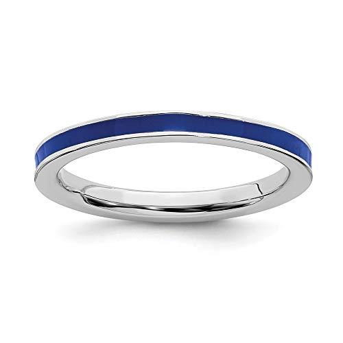 Plata de ley 925 pulido rodio plateado apilable expresiones azul esmaltado 2.25mm anillo tamaño N 1/2 joyería regalos para las mujeres