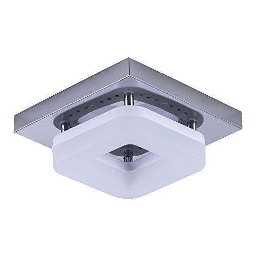 LLY Plafoniera a LED da 12W 6000K, moderno colore argento, montaggio superficiale / a filo, plafoniera in metallo per corridoio ingresso ufficio bagno (lunghezza 7,86 pollici)