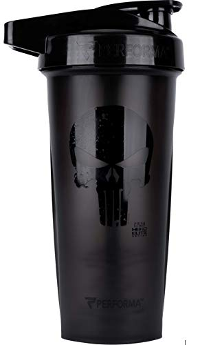Performa ACTIV (Punisher - Blackout) 28oz Shaker Bottle, Best Leak Free Bottle with ActionRod Mixing Technology for Your Sports & Fitness Needs! Shatter Proof and Dishwasher Safe!