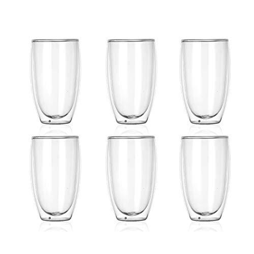 Yuansr Vidrio Highball, Taza de Taza de café, Adecuada para Leche/Bebida/Vino/Taza de Agua, Taza de Doble Vidrio, 15.8 onzas Cada uno, (6 Sets) (Grandes)