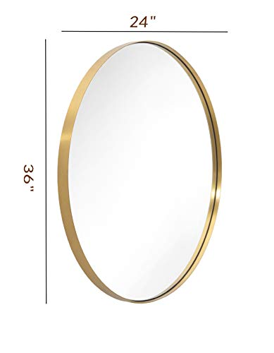 ANDY STAR Oval Gold Bathroom Mirror, 24x36x1'' Brushed Metal Frame Oval Mirror -