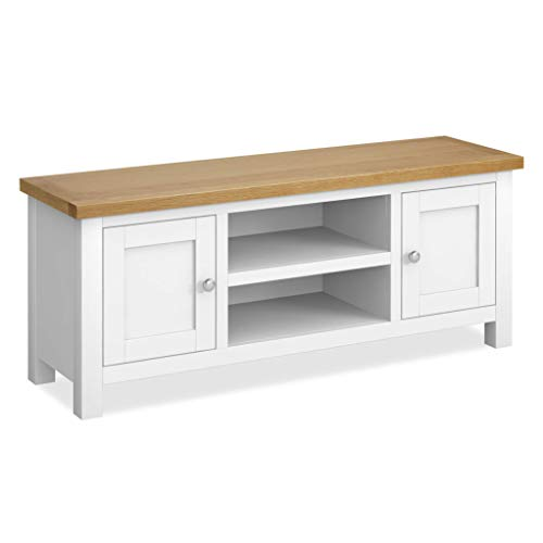 Farrow White 120 cm Large TV Unit   Painted Solid Wood Light Oak Top Television Cabinet Stand Suitable for TVs up to 54 inches for Living Room or Bedroom, Fully Assembled