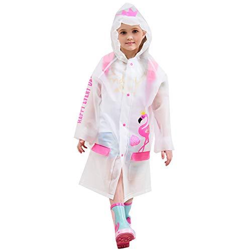 D C.Supernice Niños Lluvia Poncho Niño Niños Chicas Cute Flamingo Unicornio Impresión EVA Impermeable Chaqueta