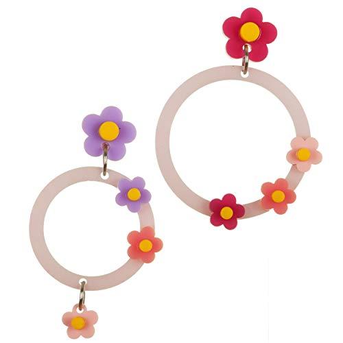VIALESCARPE - Pendientes colgantes artesanales Arky Fly de plexiglás de colores trabajados con láser. Círculo con flores para mujer, blanco y morado. Uni