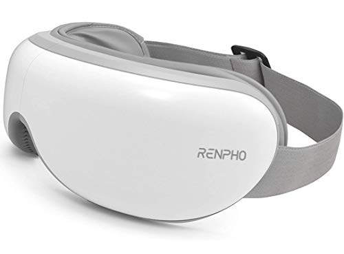 RENPHO Eye Massager with Heat, Compression, Wireless Music Rechargeable Eye Therapy Massager for Relieve Eye Strain Dark Circles Eye Bags Dry Eye Improve Sleep(White)