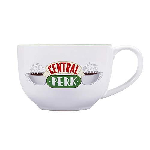 Friends XL Tasse Central Perk Logo - weiß/grün, Bedruckt, 100% Keramik, Fassungsvermögen ca. 500 ml.