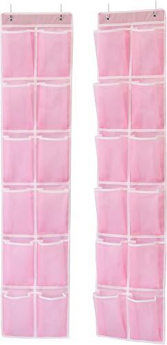 SimpleHouseware 24 Pockets - 2PK 12 Large Pockets Over Door Hanging Shoe Organizer  Pink