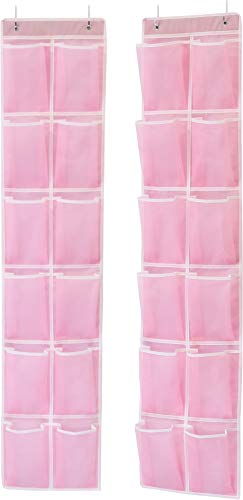 Simple Houseware 24 Pockets - 2PK 12 Large Pockets Over Door Hanging Shoe Organizer, Pink (58'' x 12.5'')
