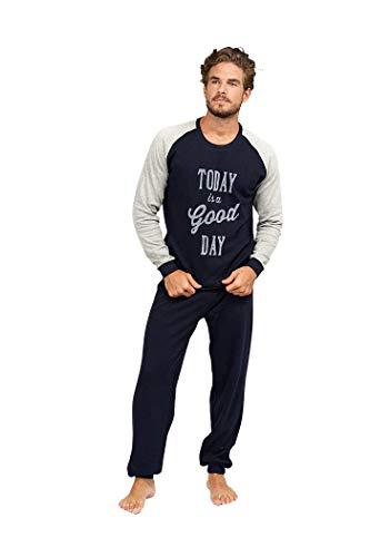 BABELO HOMEWEAR  – Pijamas de Hombre – Pijama de Hombre algodón 100% - Conjunto de Pijama de Hombre de Invierno – Pijama Largo Tipo chándal Color Gris para Hombre (S)