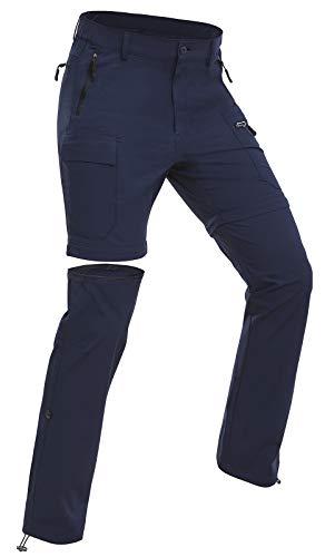 Wespornow Damen-Zip-Off-Wanderhose-Trekkinghose Atmungsaktiv Schnell Trockend Outdoorhose Abnehmbar Funktionshose Stretch Sommer Hosen (Navy, L)