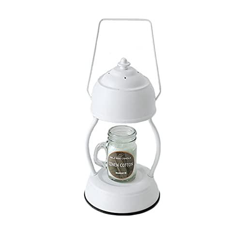 Candle Warmer Lamp Electronic Hurricane Candle Warmer Lantern Wax Burner for Aromatherapy Wax Melting (White)