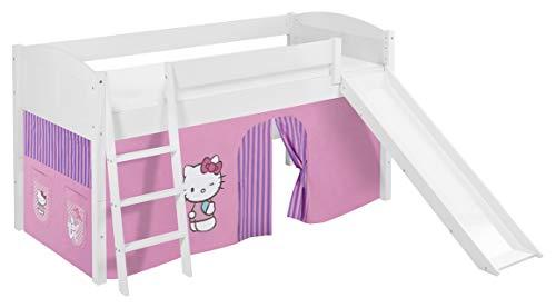 Lilokids Spielbett IDA 4106 Hello Kitty Lila-Teilbares Systemhochbett weiß-mit Rutsche und Vorhang Kinderbett, Holz, 208 x 220 x 113 cm