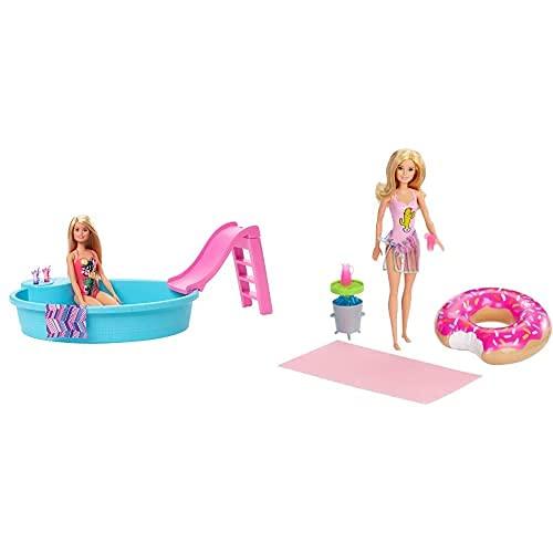 Barbie Muñeca Rubia, 30 cm, con Piscina, Tobogán y Accesorios, para Niñas y Niños 3-9 años (Mattel GHL91) y Muñeca Rubia con Flotador de Piscina en Forma de Donut y Bañador Rosado (Mattel GHT20)
