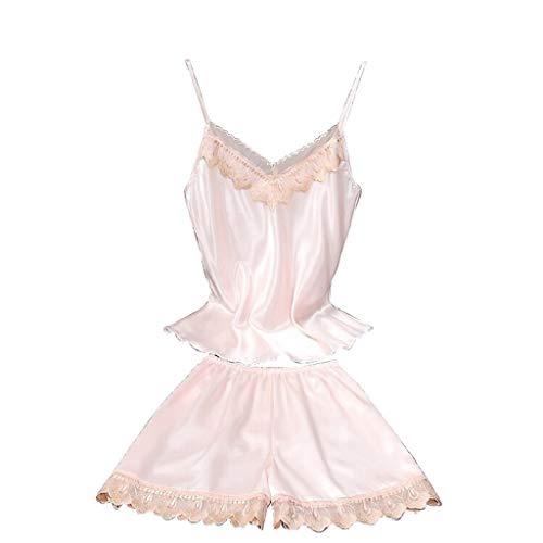 MRULIC Damen Klassische Pyjama Gesetzt Bequem Unterkleid Frauen Sexy Spitze Negligee Dessous Lingerie Nachtwäsche Slim Fit mit Trägern(Rosa,EU-36/CN-M)