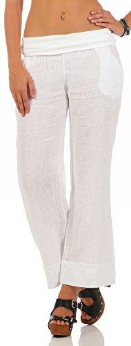 Malito Damen Hose aus Leinen | Stoffhose in Unifarben | Freizeithose für den Strand | Chino - Jogginghose 8064 (weiß, S)