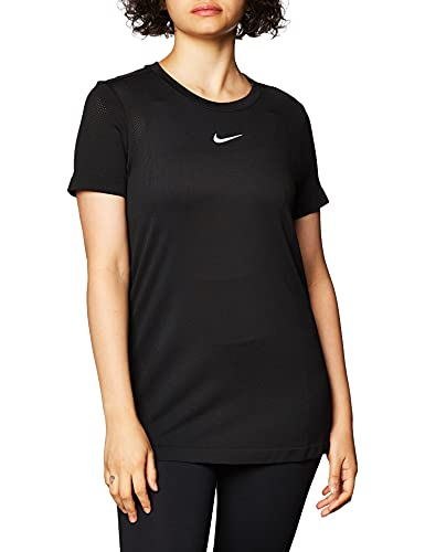 NIKE Camiseta para Mujer Infinite Top SS Negro y Plateado XL
