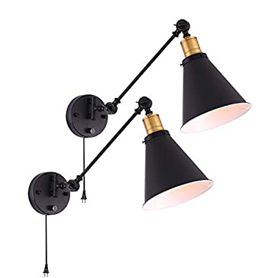Larkar Wall Lamp Plug in Cage Wall Sconces Dimmable Industrial Wall lamp,Edison Vintage Style Swing Arm Wall Light Metal Black Wall Mounted Reading Light Fixture for Indoor-Set of 2