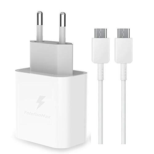TELEFONMAX Cargador rápido de 25 W, carga rápida, cable de datos USB-C Power 3.0, compatible con Samsung Galaxy S21/S21 Ultra 5G/S20/S20 Ultra/S20FE/S10/S10+/S9/S9+/A52/A51/A50/A72/A71/A21
