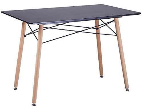 DORAFAIR Mesa de Comedor Rectangular,Estilo Escandinavo Mesa de Cocina y Patas de Madera de Haya,Negro 110 * 70 * 73cm
