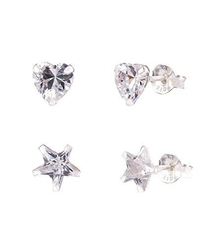 SIX 2er Set 925 Silber Ohrringe mit Stern und Herz Steckern mit Zirkoniasteinen (709-985)
