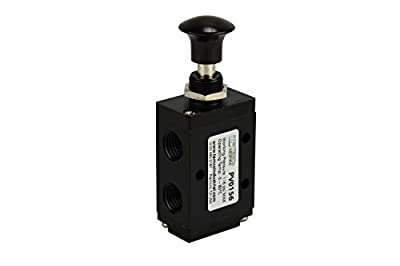 "Hand Push Pull Button Pneumatic Air Control Valve 3 Port 3 Way 2 Position 1/4"" NPT from TEMCo"
