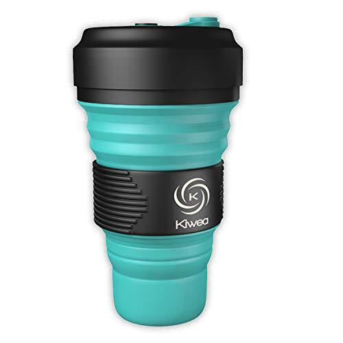 Kiwea 3 in 1 Faltbarer Multifunktionaler BPA-freier Wiederverwendbarerer Silikonbecher/Pocket Cup To Go mit Schraubverschluss und Karabiner bis zu 550ml für Reisen, Outdoor, Büro (Grün, 1)