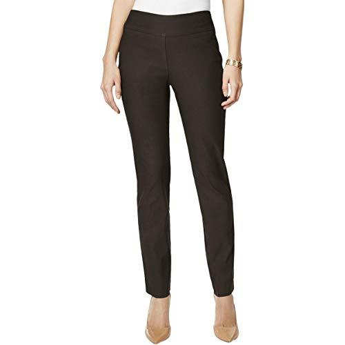 Charter Club Womens Petites Cambridge Slimming Straight Leg Pants Brown 2P
