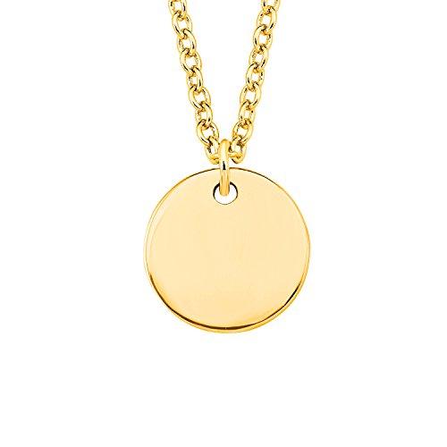 s.Oliver Damen-Kette 45 cm So Pure mit rundem Kreis Münze Anhänger gravurfähig 925 Silber gelbvergoldet