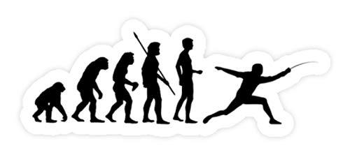 shirt-o-magic Aufkleber Fechten: Evolution Fechter - Sticker - 5x5cm - Weiß