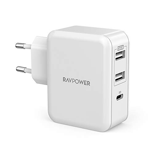 RAVPower USB C Ladegerät, 3 Port 33W USB Ladegerät Schnellladegerät mit 18W Power Delivery 3.0 für iPhone 11 Pro, Pro Max, X XR XS 8 Plus, iPad Pro 2018, Huawei P20, Nintendo Switch, HTC usw.