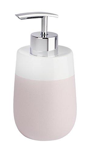 WENKO Seifenspender Malta Rosa/Weiß - Flüssigseifen-Spender, Spülmittel-Spender Fassungsvermögen: 0.3 l, Keramik, 7.5 x 15 x 8 cm, Rosa