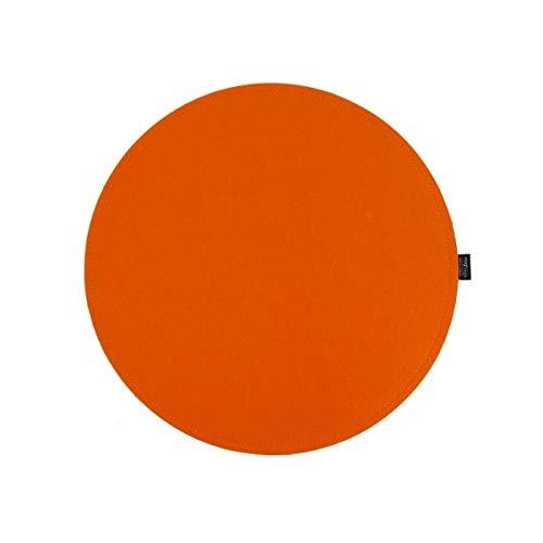 VOIGTdesign Filz-Sitzauflage - Stuhlauflage - Sitzkissen - Stuhlkissen - Auflage - rund - bi-Color - 2-lagig (D 35 cm, 116 orange)
