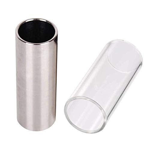 JZZJ 2 piece glass and stainless steel slides for medium guitars (6 cm)