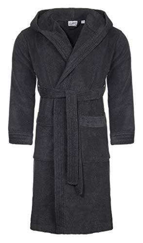 Class Home Collection Unisex Damen Herren Bademantel | Morgenmantel mit Kapuze | Saunamantel 100% Baumwolle mit aufgesetzten Taschen und Gürtel | Oeko-TEX® Standard Zertifiziert | Anthrazit Gr. S