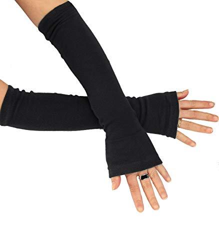 Caripe Kombi fingerlose Armstulpen Damen Beinstulpen Handschuhe Handstulpen Stulpen lang (One Size, sol-A schwarz)