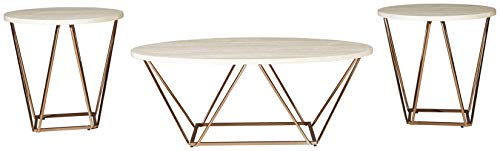 Signature Design by Ashley - Tarica Occasional Coffee Table Set of 3, White/Gold