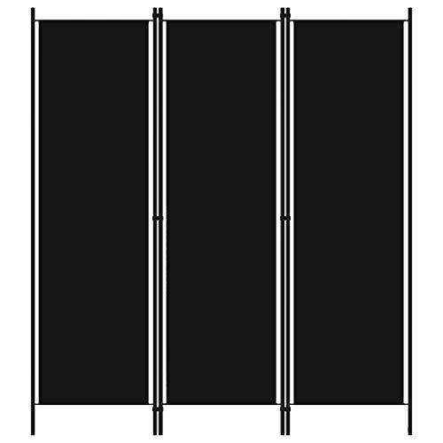 WooDlan Biombo Separador de 3 Paneles, Decoración Elegante, Separador de Ambientes Plegable, Divisor de Habitaciones, 150x180 cm (Negro)