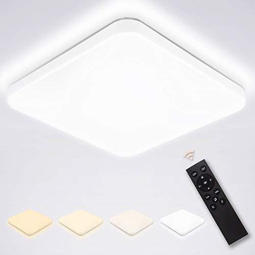 Hengda 24W LED Deckenleuchte, Dimmbar Deckenlampe mit Fernbedienung Lichtfarbe und Helligkeit Einstellbar, Schlafzimmer Lampe für Wohnzimmer Küche Kinderzimmer Bad Büro Esszimmer IP44