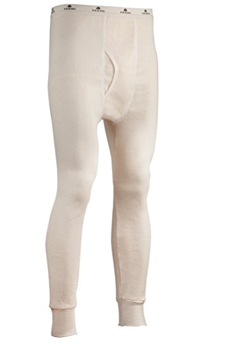 Indera Men's Expedition Weight Cotton Raschel Knit Thermal Underwear Pant, Natural, Small