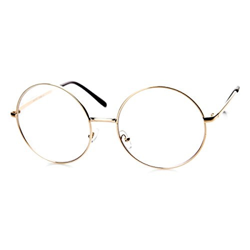 Large Oversized Metal Frame Clear Lens Round Circle Eye Glasses (Gold)