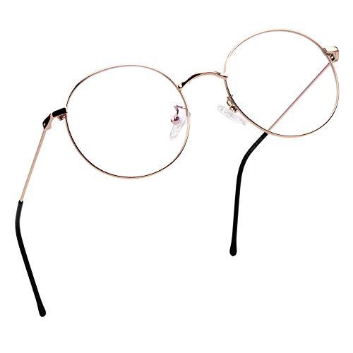 LifeArt Lese von Gläsern | Blaulichtfilter Brille Frauen | Computerbrille Männer | Runde Metallgestell Anti-Augen-Müdigkeit Gläsern (Roségold, 0.75 Vergrößerung)
